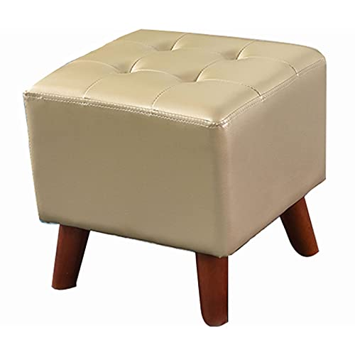 SMTAO Solid Wood Footrest Small Stool, Modern Square Seat Chair Footstool With Legs, Faux Leather Poufs For Living Room Bedroom Home,Champagne,36 * 36 * 35Cm