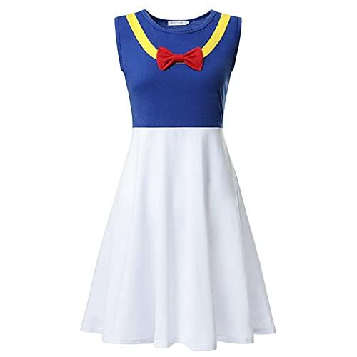 Disfraz de princesa para cosplay de superhéroes blancos como la nieve, Belle Anna Elsa Arier, ropa de fiesta para mujer, vestido de verano (color: pato Donald, tamaño: adulto S)