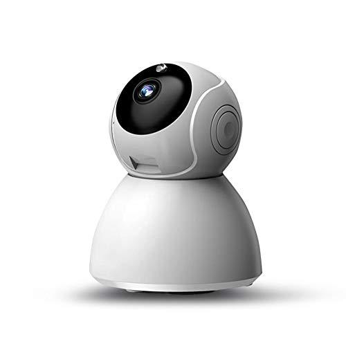 Cámara IP 1080P de seguridad wifi, cámara de vigilancia de interior 360° con sensor de movimiento, visión nocturna y audio bidireccional, control remoto y alarma, color blanco