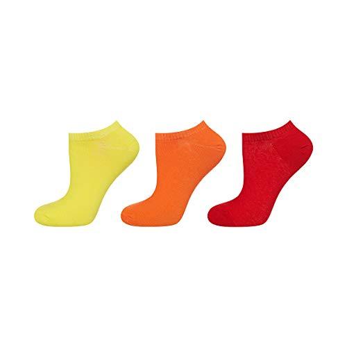 soxo Damen Sneaker Socken | 3 Paar einfarbigen modischen Socken | Größen 35-40 (gelb, orange, rot)