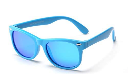 FOURCHEN Gafas de sol flexibles de goma polarizadas para niños para niñas de 3 a 10 años de edad (blueyellow/blue lens)