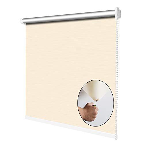 YJFENG Verdunkelungsrollo, Stoff Rollläden, Brandschutz 100% Schatten Wärmedämmung Datenschutz Für Wohnzimmer Fenster (Color : Beige, Size : 105x150cm)