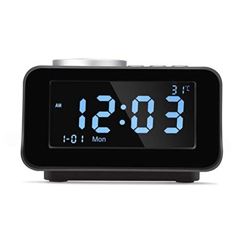 MESST Despertador Inteligente Altavoz Bluetooth, Gran Pantalla LCD de la Temperatura del Reloj Doble Despertador Reproductor de música, Soporte de conexión de teléfono móvil Bluetooth, Tablet,Black