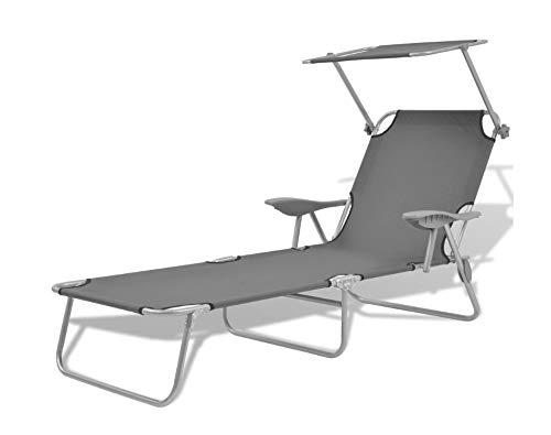 Tumbona plegable portátil reclinable con respaldo ajustable para jardín, patio, terraza, piscina, playa, gris