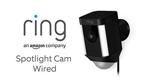 Ring Spotlight Cam Wired | Cámara de seguridad HD con foco LED, alarma, comunicación bidireccional, enchufe UE | Incluye una prueba de 30 días gratis del plan Ring Protect