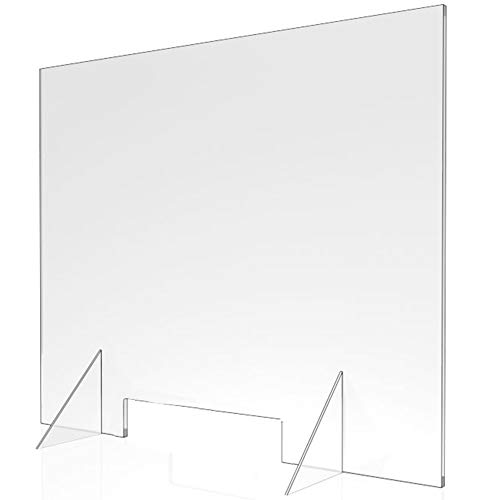 Sneeze Guard - 36' W x 30' T Acrylic Divider Protection Barrier Shield Checkout Counter Desk
