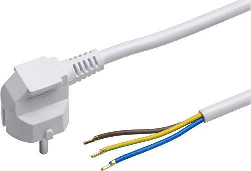 Meister Schutzkontakt-Zuleitung - 5 Meter - weiß - Kunststoffleitung H05VV-F3G1,5 - 3 Adern - IP20 / Anschlussleitung mit Schuko-Stecker / Anschlusskabel / Installationsmaterial / 7434510