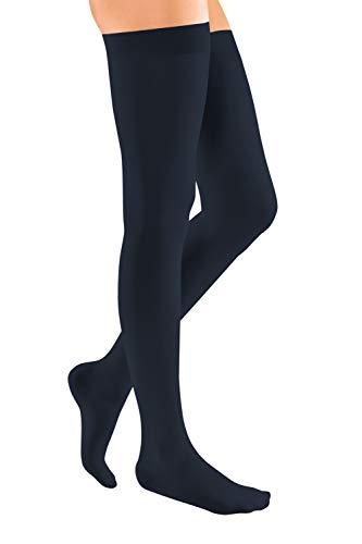 medi mediven elegance - 0269314 Oberschenkellange Damen Kompressionsstrümpfe mit geschlossener Spitze | CCL2 | Noppen-Haftband | Marine | Gr. IV normal