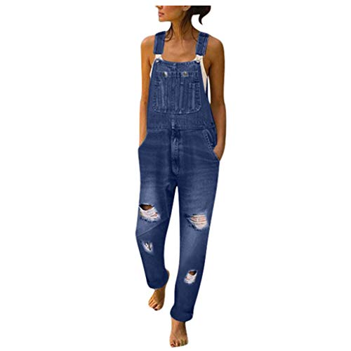 Damen Latzhose Jeans Sommerhosen Stitch Jumpsuit JoggJeans Hosen Für Männer Latzhose Junge Jeans Shorts Weite Hose Jumpsuit Schwarz Hosen Kleiderbügel Regenlatzhose High Waist(Dunkelblau,2XL)