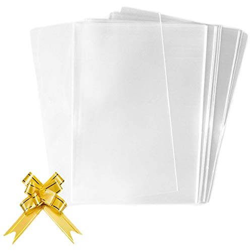 50 Piezas Bolsas de Celofán Transparente Regalo con Lazos Giratorios para Regalos Fiesta Navidad Envolver Dulces Cupcakes, 12,5x23 cm
