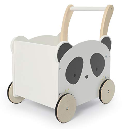 labebe Panda Wooden Baby Push Walker - 2-in-1 Toddler Push & Pull Toys Learning Walker Stroller Walker with Wheels for Baby Girls Boys 1-3 Years Old