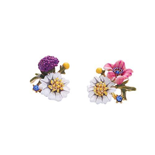 SODIAL Creativo Tridimensional Margarita Temperamento Femenino Simple y VersáTil Joya de Oreja de NiiA Esmalte Esmalte Pendientes de Flores