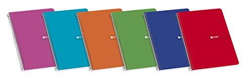 Enri, Cuadernos A4 (Folio), Pack de 10 Libretas Tapa Blanda, Cuadrícula 4x4, Colores Aleatorios