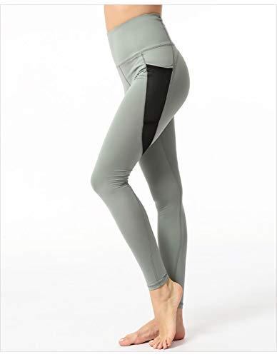 B/H Pantalon Yoga Elastique Extensible Pilates Sport,Hanches Taille Haute pêche, Legging Slim Sexy-Vert_S