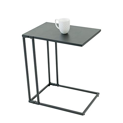 C-Hopetree Couchtisch in C-Form, Kleiner Rutsche unter Coach Sofa Snack C-Tisch für Wohnzimmer, moderner Industrie-Metallrahmen, Schwarz, Metall, Schwarz, Metal