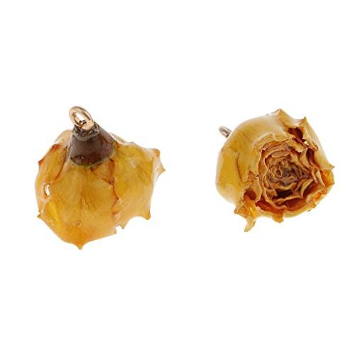 FEIBIZI NK803 2 Piezas de Flores de Rosa secas encantos con Resina líquida Cubierta y Bucle para Bricolaje Pendientes Colgante Joyas Haciendo hallazgos Encantos de joyería (Color : Yellow)