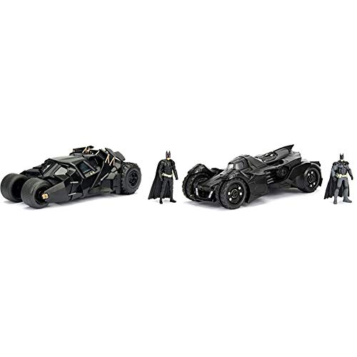 Jada Toys DC Comics 2008 The Dark Knight Batmobile with Batman Figure; 1:24 Scale Metals Vehicle & Batman 2015 Arkham Knight Batmobile & Batman Metals Die-cast Collectible Toy Vehicle with Figure