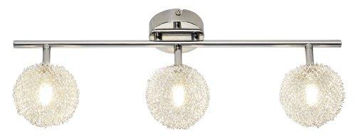 Reality, R81323106, halogeenspot, chroom, glas met aluminium draadgevlochten, 3 x G9, 28 W, inclusief eco-lamp, lengte: 52,5 cm
