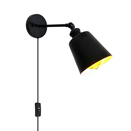 LXHK Lámpara de Pared Vintage Retro de Diseño Industrial, Aplique Pared con Enchufe y Interruptor, Lampara de Noche Dormitorio Inoxidable Negro, Aplique Giratorio Pared para Salón Oficina, E27,Eu