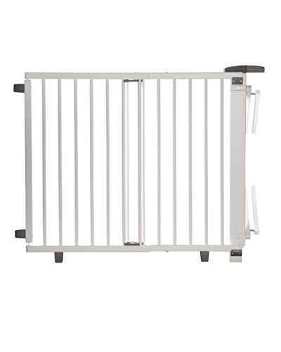 Geuther, Treppenschutzgitter ausziehbar 2732+, für KinderHunde Türschutzgitter zum bohren Holz TÜV zertifiziert, weiß, 58 - 05 cm