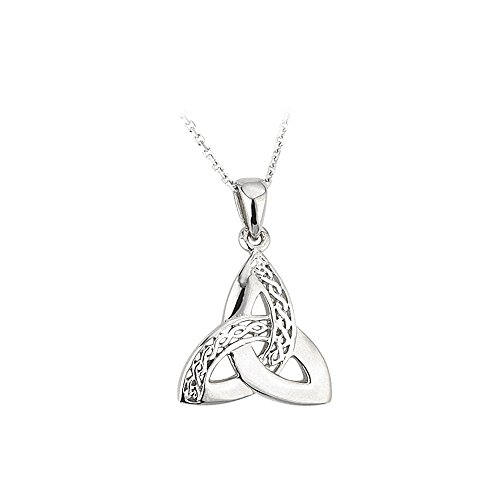 Jewelry Trinity Knot Necklace Sterling Silver Celtic Weave 18 Inches Sturdy Chain Irish Made