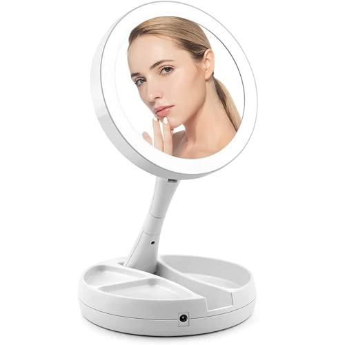 ARONTOME Miroir de maquillage à éclairage LED, pliable double face miroir cosmétique portable illuminé pour la maison, les voyages, grossissement x10