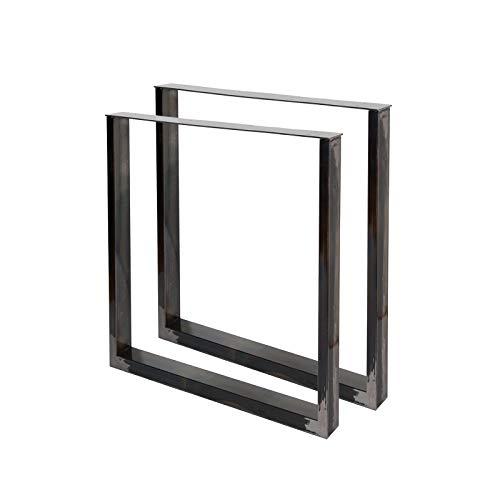 Bankgestell Bankkufen aus Vierkantprofilen 30x43cm lackierter Stahl klarlackbeschichtet Tischgestell