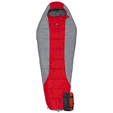 TETON Sports Tracker +5F Ultralight Mummy Sleeping Bag Perfect for Backpacking, Hiking, and Camping Outdoors; 3-4 Season Mummy Bag; Red/Grey