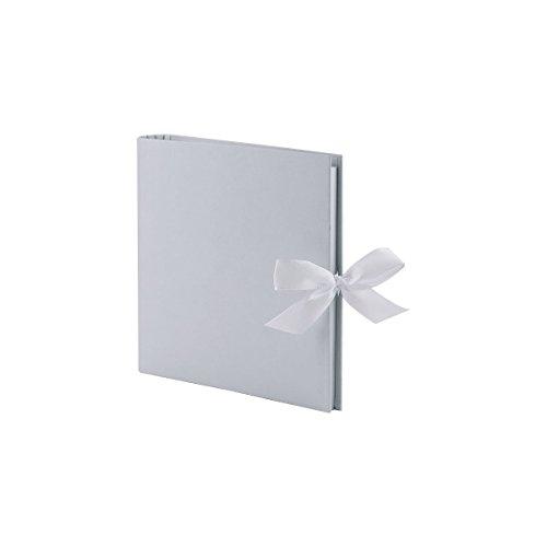 Rössler 13161157006 - Fotoringbuch, 23 x 21 cm, grau mit Schleife, 50 weiße Seiten, 25 Blatt