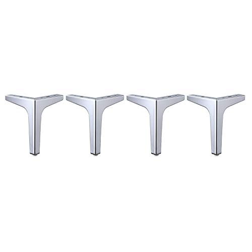 Fenteer Patas de Muebles, Juego de 4 Triángulos de Metal Modernos de Repuesto para Gabinete, Armario, Sofá, Silla, Otomana (3 Colores, 4 Tamaños) - Plata, 10cm
