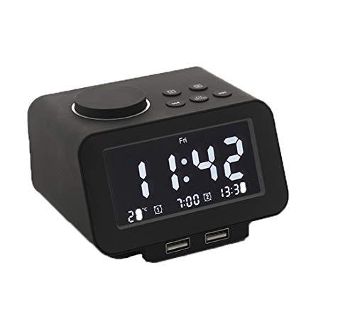 SxType digitale wekker, elektronische wekker op het nachtkastje, dimbaar, met twee USB-poorten voor het opladen van de temperatuur in realtime elektronisch