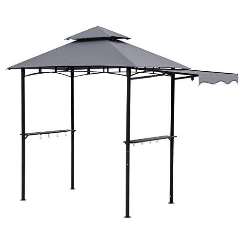 Sekey 2.35 x 1.45m Wasserdichter Grill Pavillon Gartenpavillon mit Markise, Gartenlauben Gartenzelt für Garten/Partys/Picknick/BBQ´s, UV-Schutz 50+, Grau