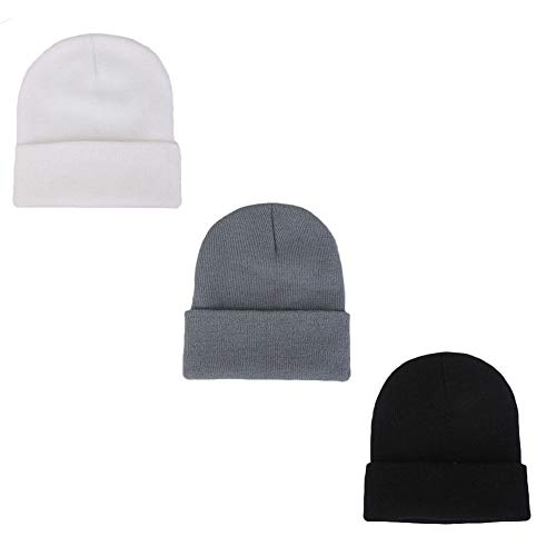 LHTHZHY Kids Winter Beanies Soft Warm Knitted Baby Hats Caps Cute Cozy Chunky Winter Infant Toddler Beanies for Boys Girls, 3pcs-black & Gray &White, 10month - 8year