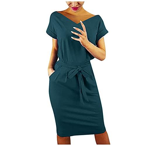 N\P Vestido casual de verano de manga corta para mujer, verde, L