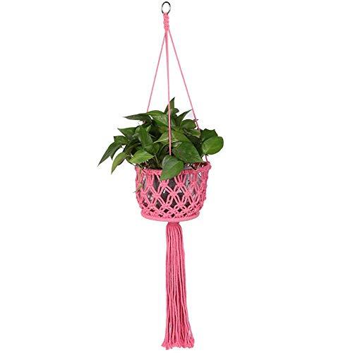 Wifehelper Bohemian Macrame Garden Plant Pot Houder, Handgeweven Hangende Mand Katoen Touw Hangende Touw Houder Roze
