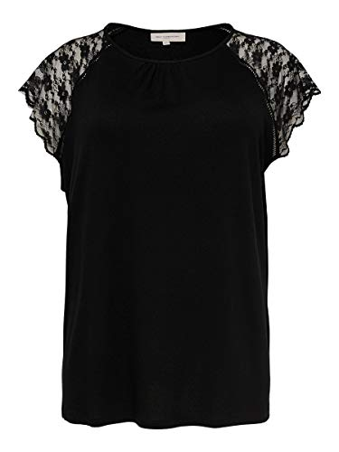 ONLY Carmakoma Womens CARAMBER SS LACE TOP ESS T-Shirt, Black, M-46/48