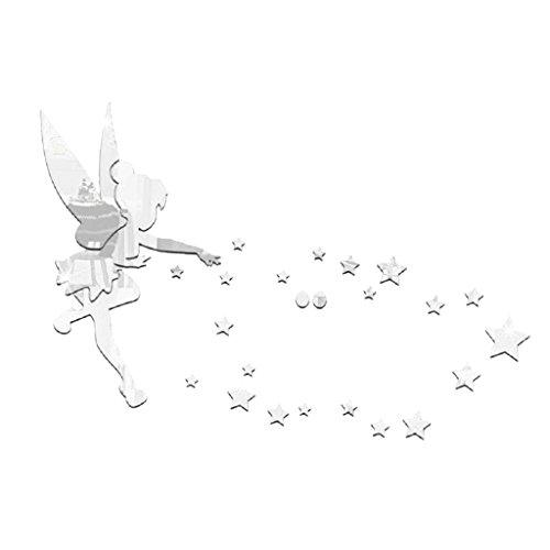 28 Piezas Pegatinas Autoadhesivas de Espejo Pared Calcomanías de Plástico Diseño de Hadas y Estrellas para Adornos de Dormitorio Sala de Estar - Plata