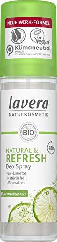 lavera, Deo Spray NATURAL REFRESH vegan Naturkosmetik Bio Limette Natürliche Mineralien ohne Aluminium Zuverlässiger Schutz für ein frisches Hautgefühl 48 Stunden Deo Schutz 75 ml, Limette, 1 stück