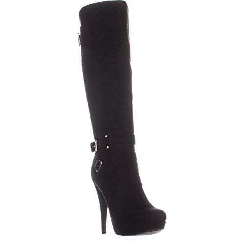 G By Guess Womens Destynn2 Fabric Almond Toe Over Knee Fashion, Black, Size 9.0