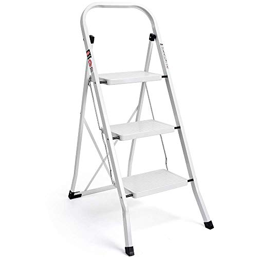 Delxo 3 Step Ladder, Folding Step Stool Ladder with Handgrip & Anti-Slip Sturdy and Wide Pedal, Multi-Use Metal Portable Step Stool for Household & Office Steel 330lbs - White