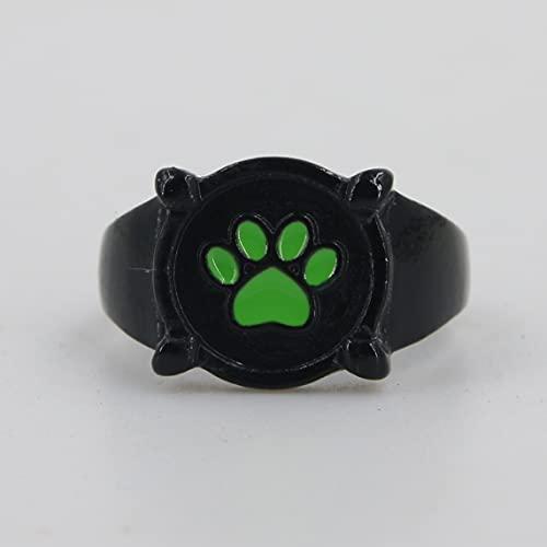 Anillo de gato negro milagroso para niños adultos Cosplay, anillo de mariquita Anime Cosplay anillo de dedo, anillo con estampado de pata verde, anillos de aleación negros de moda (4)