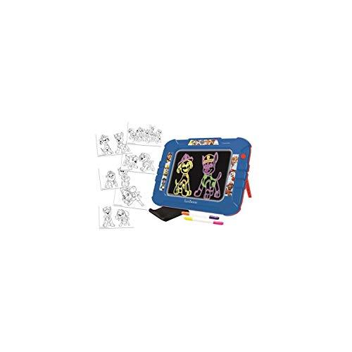LEXIBOOK- Paw Patrol La Patrulla Canina-Tablero de Dibujo Electrónico de Neón, Juguete Creativo artístico Muchachos, paño de Limpieza y 2 marcadores incluidos, Azul/Roja