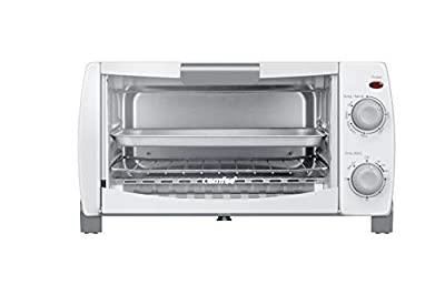 Comfee' Toaster Oven Countertop, 4-Slice, Compact Size, Easy to Control with Timer-Bake-Broil-Toast Setting, 1000W, White (CFO-BB102)