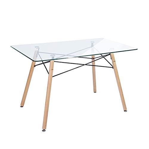 H.J WeDoo Tavolo da Pranzo Rettangolare Gambe in Legno Design Moderno per Soggiorno Sala Cucina Scandinavo,110 x 70 x 75 cm Vetro Trasparente