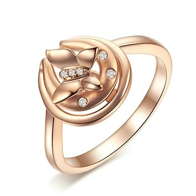 Bishilin Anillos de Oro Amarillo 750 Alianza de Bodas de 18K, Mariposa Anillo con Diamante 0.039ct Anillo de Compromiso de Boda Aniversario Cumpleaños Oro