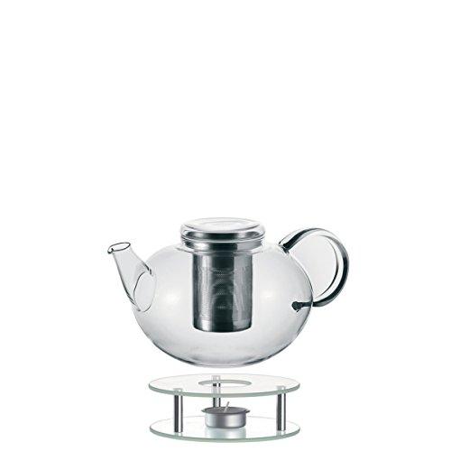 Leonardo Set Teekanne mit Stövchen Moon, 2-teilig, 2 l, handgefertigt, hitzebeständiges Glas und Edelstahl, 014666