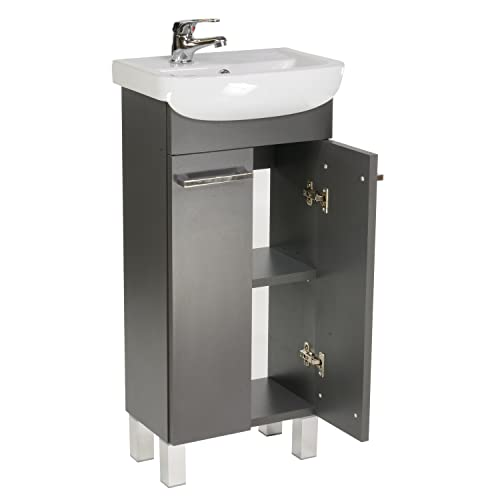 Lavabo con armario bajo Lugo, mueble de baño, juego de 40 cm, lavabo de pie con armario inferior (grafito)