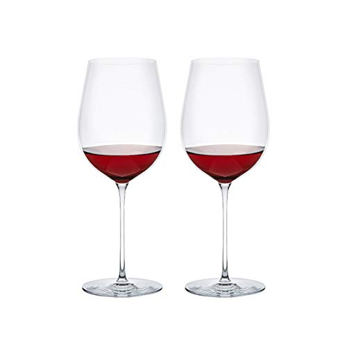 Red wine glass hand blown crystal wine glass tall wine glass large wine glass with stem, Suitable for all red wine 1-6 piece set (Color : Clear, Size : 940ml*2)