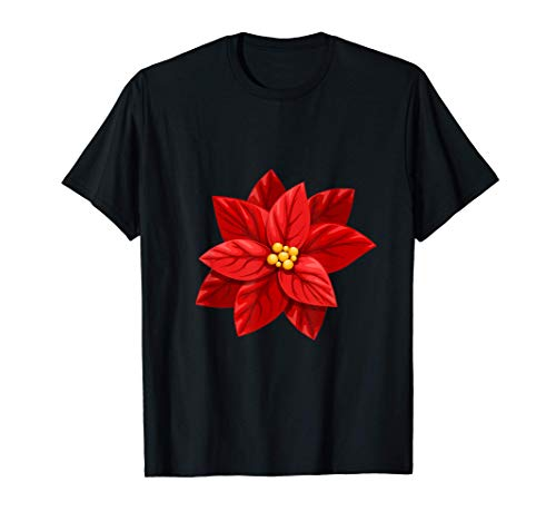 Beautiful Red Poinsettia Flower - Christmas Decoration T-Shirt