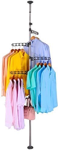 Skywin Tendedero de ropa – 4 niveles giratorio 360 grados para colgar ropa con altura ajustable, sin necesidad de taladrar sin herramientas, tubos verticales de tendedero para montaje de ropa entre el techo